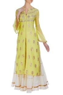 Jacket style kurta with patti embroidery
