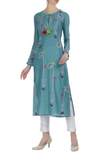 Dori work straight cut kurta