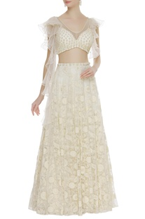 Ruffle sleeves blouse with embroidered lehenga