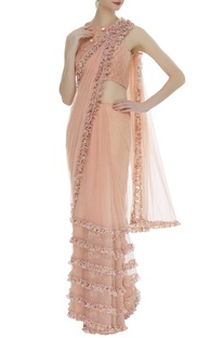 Frill sari with embroidered blouse