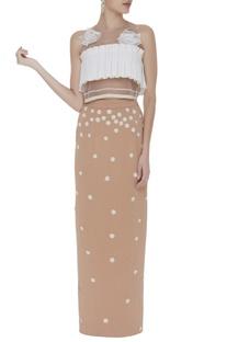Neoprene floral applique maxi skirt