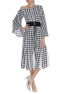 Block printed checkered dress