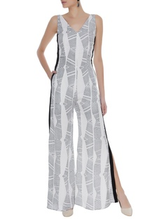 Block printed jumpsuit with slits