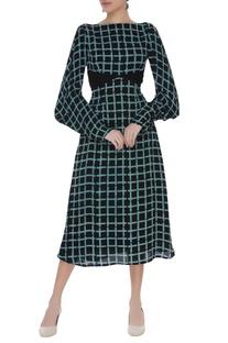 Hand block printed midi dress