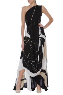 Draped style block print dress with belt