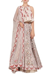 Floral printed flared blouse with lehenga & dupatta