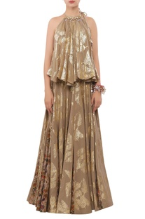 Foil printed sequin encrusted halter blouse with lehenga