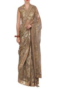 Organza sequin sari with petticoat & blouse