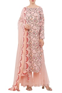 Hand painted floral kurta & sharara set