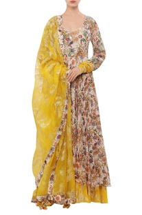 Floral hand painted sequin anarkali set