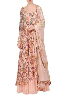 Crepe silk hand painted floral anarkali set