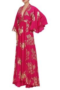Palm leaf foil printed kimono style gown