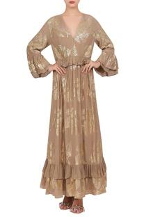 Crepe silk ruffle dress with foil print