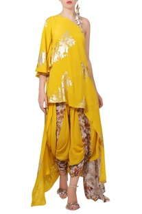 Crepe silk one shoulder tunic with dhoti pants
