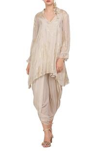 Crepe silk foil printed tunic with dhoti pants