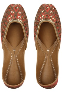 Sequin jaal pattern pure leather mojiris