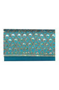 Sequin & zari work dupion silk clutch