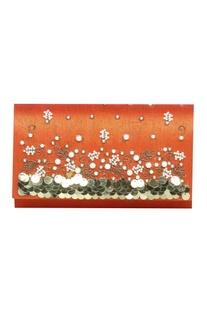 Zardozi & pearl hand embroidered clutch