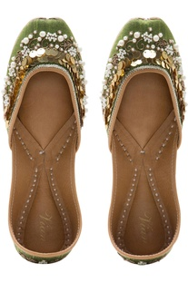 Dupion silk & pure leather sequin mojiris
