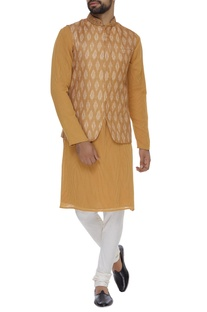 Printed satin linen jacket & kurta set