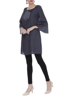 Pleated cotton silk short tunic