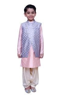 Short kurta with printed jacket and salwar