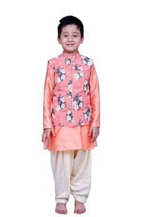 Floral printed jacket with kurta and churidar