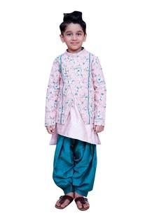 Kurta with printed jacket and salwar