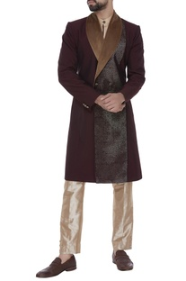 Shawl collar sherwani with kurta & trousers