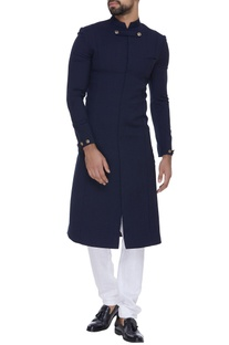 Worsted wool military style sherwani set