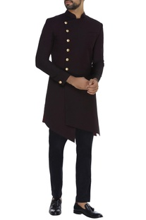 Asymmetric sherwani with straight pants