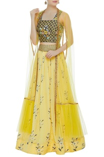 Floral printed & sequin embroidered lehenga set