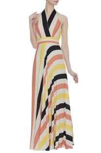 Color-block halter maxi dress