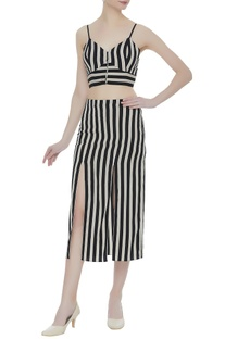 Stripe pattern crepe silk bustier with midi skirt