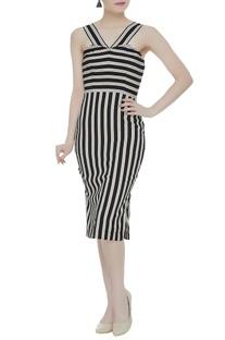 Stripe pattern crepe silk midi dress