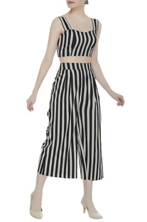 Stripe pattern crepe silk bustier with culottes