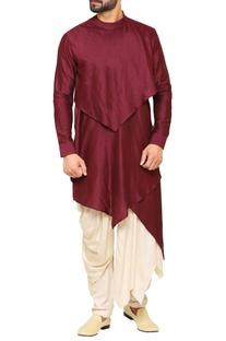 Layered kurta with draped pants