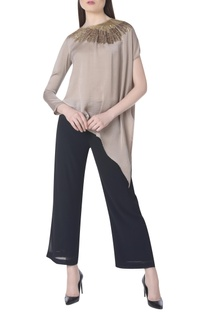 Asymmetric embroidered top