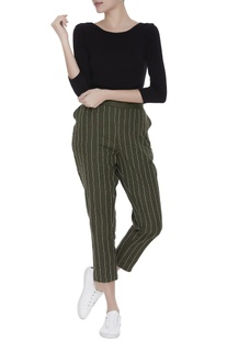 Striped embroidered linen pants
