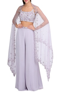 Hand embroidered blouse with flared pants & dupatta
