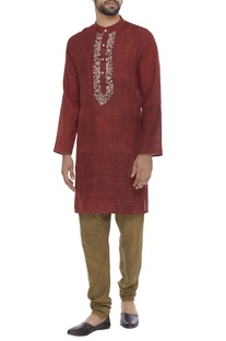 Organic silk hand thread embroidered kurta