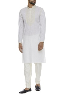 Organic linen kurta with hand embroidery