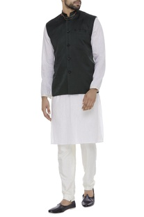 Organic silk embellished collar nehru jacket