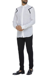Organic linen shirt with patchwork detailing