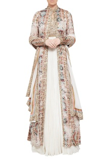 Crushed anarkali with jacket & dupatta