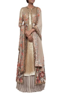 Ikat jacket with lehenga & sequin kurta set