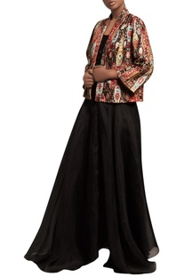 Sequin embroidered top with skirt & cambric jacket