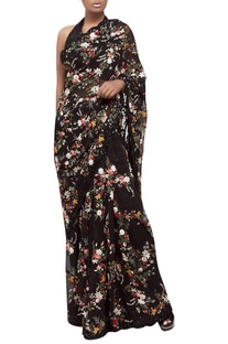 Sequin floral embroidered sari with blouse