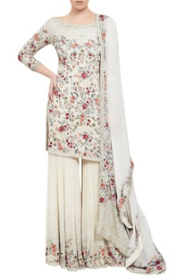 Chiffon floral embroidered kurta sharara set