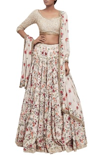 Floral embroidered organza lehenga with sequin blouse & dupatta